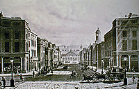 Regent St. to Waterloo to Picadilly. St. Philips Chapel on right. John Nash. Historical print.
