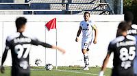 RICHMOND, VA - SEPTEMBER 30: Ben Speas #17 of North Carolina FC takes a corner kick during a game between North Carolina FC and New York Red Bulls II at City Stadium on September 30, 2020 in Richmond, Virginia.