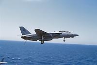"- Nimitz aircraft carrier, launch of a F 14 ""Tomcat"" fighter aircraft ....- portaerei Nimitz, lancio di un aereo da caccia F 14 ""Tomcat"".."