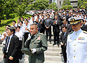 Japanese Defense Minister Inada leaves Defense Ministry in Tokyo
