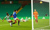 21st April 2021; Celtic Park, Glasgow, Scotland; Scottish Womens Premier League, Celtic versus Rangers; Mariah Lee of Celtic Women hits the bar from close range near the end of the game