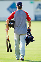 Bryce Harper #34 of the Hagerstown Suns walks across the field following the game against the Kannapolis Intimidators at Fieldcrest Cannon Stadium on May 30, 2011 in Kannapolis, North Carolina.   Photo by Brian Westerholt / Four Seam Images