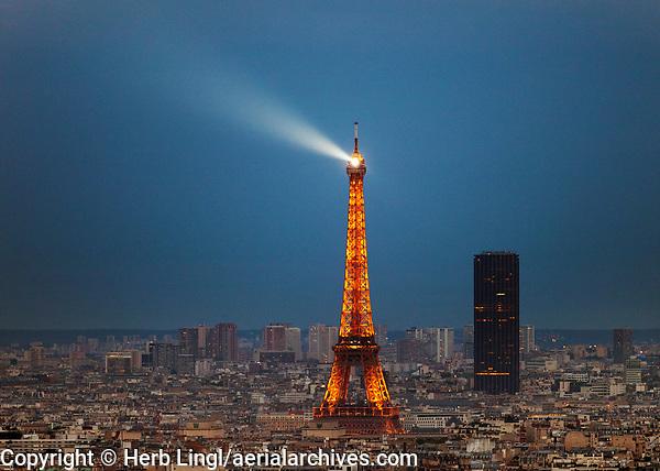 Lit Eiffel Tower, Paris, France at night