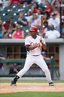 Alexander Malleta Kerr (55) of the Cuban National Team at bat against the US Collegiate National Team at BB&T BallPark on July 4, 2015 in Charlotte, North Carolina.  The United State Collegiate National Team defeated the Cuban National Team 11-1.  (Brian Westerholt/Four Seam Images)