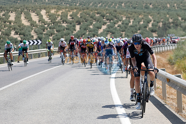 The breakaway tries to form at the start of Stage 12 of La Vuelta d'Espana 2021, running 175km from Jaén to Córdoba, Spain. 26th August 2021.     <br /> Picture: Luis Angel Gomez/Photogomezsport | Cyclefile<br /> <br /> All photos usage must carry mandatory copyright credit (© Cyclefile | Luis Angel Gomez/Photogomezsport)