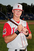 Lowell Spinners third baseman David Renfroe (26) poses for a photo before a game vs. the Batavia Muckdogs at Dwyer Stadium in Batavia, New York July 16, 2010.   Batavia defeated Lowell 5-4 with a walk off RBI single.  Photo By Mike Janes/Four Seam Images