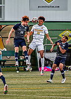 9 April 2021: University of New Hampshire Wildcat Men's Soccer Forward Paul Mayer, a Graduate Student from Strasbourg, France, goes up against  University of Vermont Catamount Midfielder Max Murray, a Freshman from Kennebunkport, Maine, in second-half action at Virtue Field in Burlington, Vermont. The Wildcats defeated the Catamounts 2-1 in America East, Division 1 play. Mandatory Credit: Ed Wolfstein Photo *** RAW (NEF) Image File Available ***