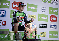 Podium with Slovenian Champion Matej Mohoric (SLO/Bahrain Merida) after ending up 1st place and winning the Binck Bank Tour 2018.<br /> <br /> Binckbank Tour 2018 (UCI World Tour)<br /> Stage 7: Lac de l'eau d'heure (BE) - Geraardsbergen (BE) 212.7km
