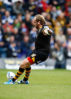 Photo: Richard Lane/Richard Lane Photography. London Wasps v Bath Rugby. Amlin Challenge Cup Semi Final. 27/04/2014. Wasps' Andy Goode kicks.