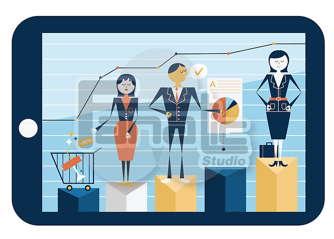 Illustrative image of people on bar graph in digital tablet representing online shopping business