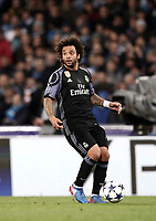 Football Soccer: UEFA Champions League Round of 16 second leg, Napoli-Real Madrid, San Paolo stadium, Naples, Italy, March 7, 2017. <br /> Real Madrid's Marcelo in action during the Champions League football soccer match between Napoli and Real Madrid at the San Paolo stadium, 7 March 2017. <br /> Real Madrid won 3-1 to reach the quarter-finals.<br /> UPDATE IMAGES PRESS/Isabella Bonotto