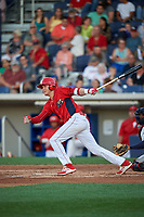 Williamsport Crosscutters third baseman Cole Stobbe (7) follows through on a swing during a game against the Mahoning Valley Scrappers on July 8, 2017 at BB&T Ballpark at Historic Bowman Field in Williamsport, Pennsylvania.  Williamsport defeated Mahoning Valley 6-1.  (Mike Janes/Four Seam Images)