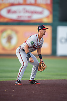 Danville Braves third baseman Brett Langhorne (23) during a game against the Johnson City Cardinals on July 29, 2018 at TVA Credit Union Ballpark in Johnson City, Tennessee.  Johnson City defeated Danville 8-1.  (Mike Janes/Four Seam Images)