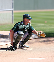 Max Stassi. Oakland Athletics spring training workouts at the Athletics complex, Phoenix, AZ - 02/25/2010 & 02/26/2010.Photo by:  Bill Mitchell/Four Seam Images.