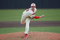 Dayton Flyers relief pitcher Parker Bard (26) follows through on his delivery against the Campbell Camels at Jim Perry Stadium on February 28, 2021 in Buies Creek, North Carolina. The Camels defeated the Flyers 11-2. (Brian Westerholt/Four Seam Images)