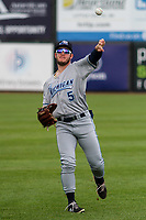 West Michigan Whitecaps outfielder Daniel Cabrera (5) warms up in the outfield prior to a game against the Wisconsin Timber Rattlers on May 22, 2021 at Neuroscience Group Field at Fox Cities Stadium in Grand Chute, Wisconsin.  (Brad Krause/Four Seam Images)