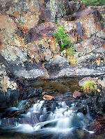 Small waterfal with lichen covered rocks on Glen Alpine Creek near Fallen Leaf Lake. California