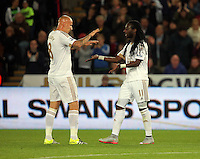 Pictured: Marvin Emnes  of Swansea (R) celebrates his goal with team mate Jonjo Shelvey Tuesday 25 August 2015<br /> Re: Capital One Cup, Round Two, Swansea City v York City at the Liberty Stadium, Swansea, UK.