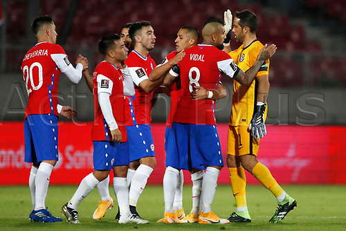 13th November 2020; National Stadium of Santiago, Santiago, Chile; World Cup 2020 Football qualification, Chile versus Peru;  Players of Chile celebrate victory after the match