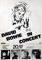 BNPS.co.uk (01202 558833)<br /> Pic: Julien'sAuctions/BNPS<br /> <br /> Tour poster based on the sketch.<br /> <br /> A remarkable self portrait by a tormented David Bowie has sold for £40,000.<br /> <br /> Bowie's charcoal sketch was based on the 1977 'Heroes' album cover, and was used on merchandising for his 1978 tour.<br /> <br /> The late icon produced the sketch early in 1978 while living in Cold War Berlin and trying to conquer his cocaine addiction.<br /> <br /> He has a dark, brooding expression with intense eyes and a hand in front of his face.<br /> <br /> Bowie's illustration was based on a candid photograph by Masayoshi Sukita which was used on the front cover to his seminal album Heroes.