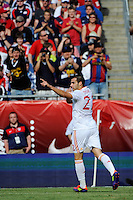 Alvaro Negredo (22) of Spain celebrates scoring. The men's national team of Spain (ESP) defeated the United States (USA) 4-0 during a International friendly at Gillette Stadium in Foxborough, MA, on June 04, 2011.