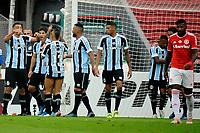 PORTO ALEGRE, RS, 16.05.2021 - INTERNACIONAL- GREMIO - O atacante Diego Souza, da equipe do Grêmio, comemora o seu gol, na partida entre Internacional e Grêmio, pela final do Campeonato Gaúcho 2021, no estádio Beira Rio, em Porto Alegre, neste domingo (16).