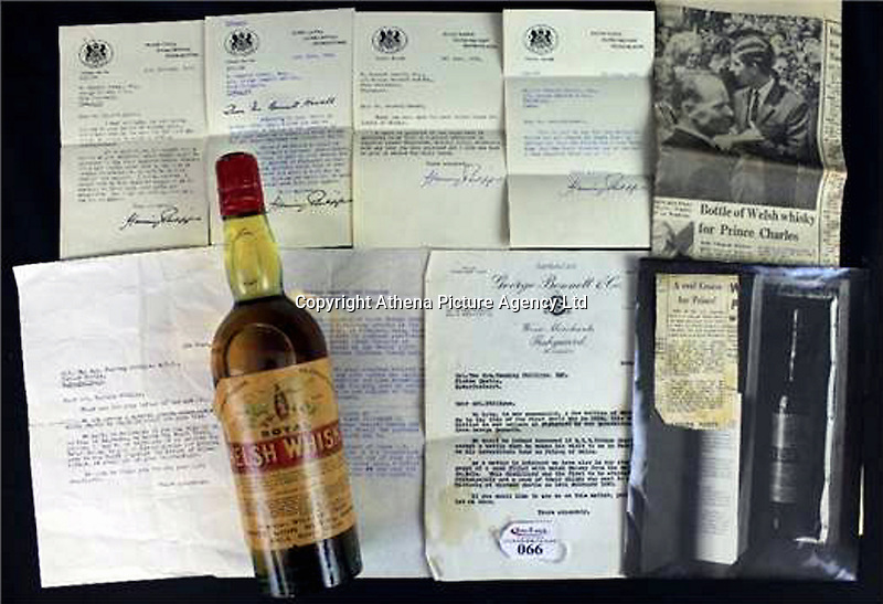 """Pictured: One of the bottles of whisky dating back to almost 120 years which is auctioned off by Peter Francis Auctioneers in Carmarthen Wales.<br /> Re: Two bottles of Welsh whisky dating back almost 120 years could fetch £3,000 each when they are put up for auction.<br /> The Welsh Whisky Distillery Company bottles are being auctioned online from Thursday until 5 December by Peter Francis Auctioneers in Carmarthen.<br /> The whisky was bought by a wine merchant in Fishguard, Pembrokeshire, in the 1960s for £5 each.<br /> Auctioneer Charles Hampshire said: """"It's such a rare thing - the only other ones we know of are on display.""""<br /> The Welsh Whisky Distillery Company was founded in Frongoch, Bala, Gwynedd in 1889 but closed in the early 20th Century.<br /> The distillery became a World War One prison camp - and more famously, an internment camp after the Easter Rising in the Republic of Ireland.<br /> The bottles, dating back to about 1900, will go up in two separate lots, each with supporting paperwork."""