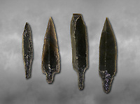 Black obsidian arrow heads. Catalhoyuk Collections. Museum of Anatolian Civilisations, Ankara. Against a gray mottled background
