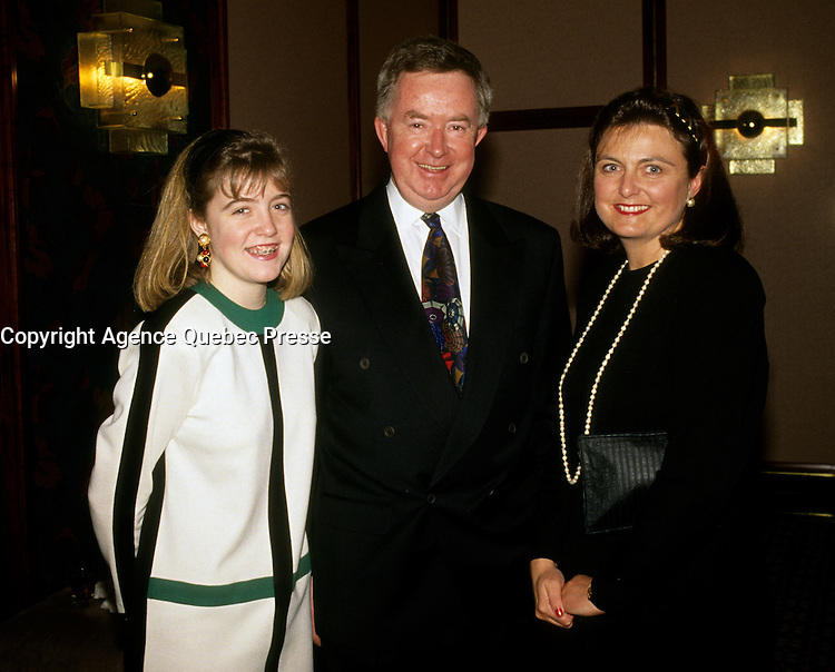 UNDATED FILE PHOTO - Joe Clark between 1991 and 1995. with his daughter and his wife Maureen McTeer<br /> <br /> Photo : Pierre Roussel - Agence Quebec Presse