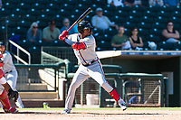 Peoria Javelinas center fielder Cristian Pache (27), of the Atlanta Braves organization, at bat during an Arizona Fall League game against the Surprise Saguaros at Surprise Stadium on October 17, 2018 in Surprise, Arizona. (Zachary Lucy/Four Seam Images)