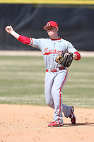 March 15, 2010:  Second Baseman Matt June (4) of the Cortland Red Dragons in a game vs Wheaton College at Lake Myrtle Park in Auburndale, FL.  Photo By Mike Janes/Four Seam Images
