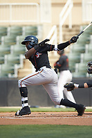 JC Encarnacion (1) of the Delmarva Shorebirds follows through on his swing against the Kannapolis Intimidators at Kannapolis Intimidators Stadium on May 19, 2019 in Kannapolis, North Carolina. The Shorebirds defeated the Intimidators 9-3. (Brian Westerholt/Four Seam Images)