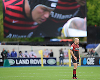 20130512 Copyright onEdition 2013©.Free for editorial use image, please credit: onEdition..Charlie Hodgson of Saracens stands in front of the large screen during the Premiership Rugby semi final match between Saracens and Northampton Saints at Allianz Park on Sunday 12th May 2013 (Photo by Rob Munro)..For press contacts contact: Sam Feasey at brandRapport on M: +44 (0)7717 757114 E: SFeasey@brand-rapport.com..If you require a higher resolution image or you have any other onEdition photographic enquiries, please contact onEdition on 0845 900 2 900 or email info@onEdition.com.This image is copyright onEdition 2013©..This image has been supplied by onEdition and must be credited onEdition. The author is asserting his full Moral rights in relation to the publication of this image. Rights for onward transmission of any image or file is not granted or implied. Changing or deleting Copyright information is illegal as specified in the Copyright, Design and Patents Act 1988. If you are in any way unsure of your right to publish this image please contact onEdition on 0845 900 2 900 or email info@onEdition.com