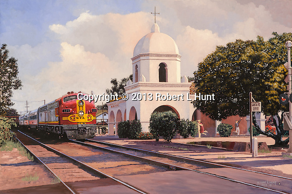 """Santa Fe Passenger train with warbonnet F unit diesels starts to depart the station in San Juan Capistrano, CA.  Oil on canvas, 18"""" x 27""""."""