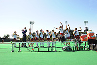 Stanford, CA - SEPTEMBER 27:  (L-R) Defender Leigh Kaulbach #15, goalkeeper Beth Ridley #32, defender Bailey Richardson #12, forward Katie Mitchell #6, midfielder Devon Holman #20, midfielder Katherine Donner #22, forward Marlana Shile #19, forward Rachel Mozenter #7, assistant coach Jordan Marotta, forward Katherine Swank #16, and forward Chloe Bade #17 celebrate midfielder Midori Uehara's #3 (not pictured) of the Stanford Cardinal goal during Stanford's 7-0 win against the Pacific Tigers on September 27, 2008 at the Varsity Field Hockey Turf in Stanford, California.