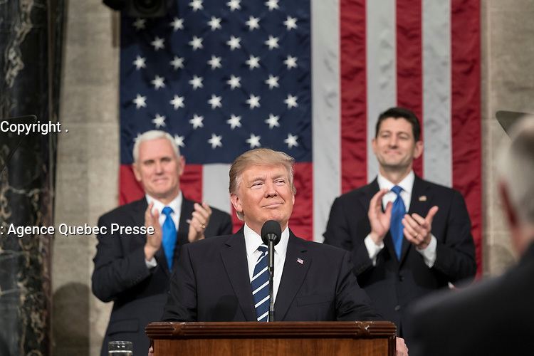 Flanked by Vice President Mike Pence and House Speaker Paul Ryan (R-WI), President Donald Trump delivers his Joint Address to Congress at the U.S. Capitol Building in Washington, D.C., Tuesday February 28, 2017. (Official White House Photo by Shealah Craighead)
