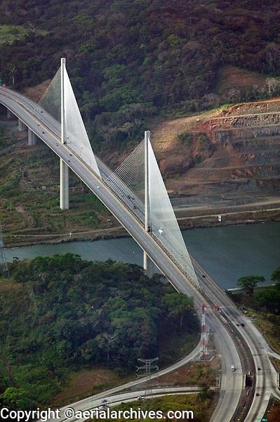 aerial photograph of the Centennial Bridge, crossing the Panama Canal, Panama | fotografía aérea del Puente Centenario, que cruza el Canal de Panamá