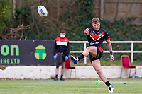 Chris HANKINSON (3) of London Broncos kicks a conversion during the Betfred Challenge Cup Round One match between London Broncos and Keighley Cougars at The Rock, Rosslyn Park, London, England on 20 March 2021. Photo by David Horn.