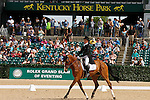 LEXINGTON, KY - APRIL 29: #67 Xanthus III and rider Blyth Tait compete in the Dressage test at the Rolex Three Day Event, Dressage Day 2, at the Kentucky Horse Park in Lexington, KY.  April 29, 2016 in Lexington, Kentucky. (Photo by Candice Chavez/Eclipse Sportswire/Getty Images)