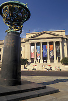 AJ3230, Franklin Institute, museum, Philadelphia, Pennsylvania, A sculpture of the world stands outside the Franklin Institute Science Museum in Philadelphia in the state of Pennsylvania.