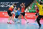 Nemanja Zelenovic (FAG) beim Wurf beim Spiel in der Handball Bundesliga, Frisch Auf Goeppingen - Fuechse Berlin.<br /> <br /> Foto © PIX-Sportfotos *** Foto ist honorarpflichtig! *** Auf Anfrage in hoeherer Qualitaet/Aufloesung. Belegexemplar erbeten. Veroeffentlichung ausschliesslich fuer journalistisch-publizistische Zwecke. For editorial use only.