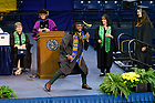 May 19, 2019; Former football player Jaylon Smith celebrates as his name is called at the College of Arts & Letters degree ceremony, 2019 Commencement. (Photo by Matt Cashore/University of Notre Dame)