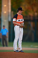 Jacob Knapp during the WWBA World Championship at the Roger Dean Complex on October 20, 2018 in Jupiter, Florida.  Jacob Knapp is a right handed pitcher from Greensboro, North Carolina who attends Walter Hines Page Senior High School.  (Mike Janes/Four Seam Images)
