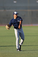 Trent Clark (2) of the AZL Brewers warms up before a game against the AZL Reds at the Cincinnati Reds Spring Training Complex on July 5, 2015 in Goodyear, Arizona. Reds defeated Brewers, 9-4. (Larry Goren/Four Seam Images)