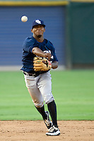 New Orleans Zephyrs shortstop Osvaldo Martinez #10 throws to first base during a game against the Round Rock Express at the Dell Diamond on July 20, 2011 in Round Rock, Texas.  New Orleans defeated Round Rock 14-11.  (Andrew Woolley/Four Seam Images)