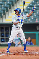 Omaha Storm Chasers second baseman Angel Franco (16) at bat during a game against the Oklahoma City Dodgers at Chickasaw Bricktown Ballpark on June 16, 2016 in Oklahoma City, Oklahoma. Oklahoma City defeated Omaha 5-4  (William Purnell/Four Seam Images)