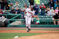 Rochester Red Wings Luis Arraez (9) celebrates a walk off single during an International League game against the Charlotte Knights on June 16, 2019 at Frontier Field in Rochester, New York.  Rochester defeated Charlotte 3-2 in the second game of a doubleheader.  (Mike Janes/Four Seam Images)