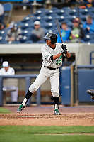 Clinton LumberKings left fielder Dimas Ojeda (33) at bat during a game against the West Michigan Whitecaps on May 3, 2017 at Fifth Third Ballpark in Comstock Park, Michigan.  West Michigan defeated Clinton 3-2.  (Mike Janes/Four Seam Images)