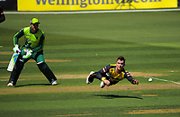 Peter Younghusband fields off his bowling during the t20 cricket match between the Wellington Firebirds and Pakistan at Basin Reserve in Wellington, New Zealand on Tuesday, 29 December 2020. Photo: Dave Lintott / lintottphoto.co.nz