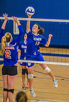 27 October 2013: Yeshiva University Maccabee Middle Hitter Kerrin Ast, a Senior from St. Louis, MO, in action during a Skyline Conference game against the Purchase College Panthers at the College of Mount Saint Vincent in Riverdale, NY. The Panthers defeated the Maccabees 3-0 in NCAA women's volleyball play. Mandatory Credit: Ed Wolfstein Photo *** RAW (NEF) Image File Available ***